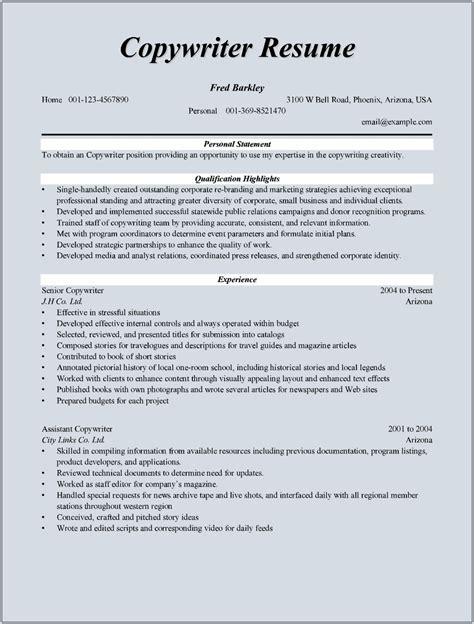 Copywriter Resumes copywriter resume sle for microsoft word doc