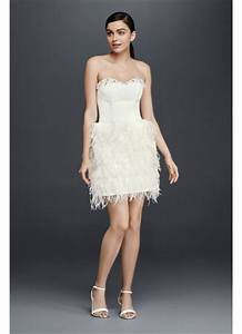 two piece wedding dress with feather skirt davids bridal With two piece wedding dresses david s bridal