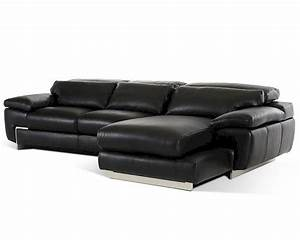 Contemporary black full leather sectional sofa 44l5961 for Leather sectional sofa mart