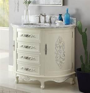 Antique, Style, 42, U0026quot, Collection, White, Bathroom, Vanity