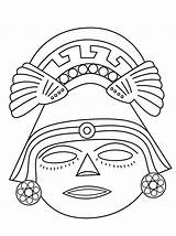 Aztec Coloring Pages Mask Getdrawings sketch template