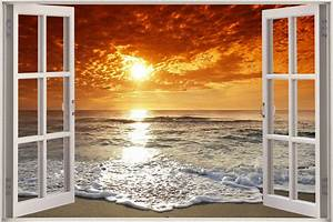 Huge 3d window exotic ocean beach view wall stickers film for Beautiful beach decals for walls