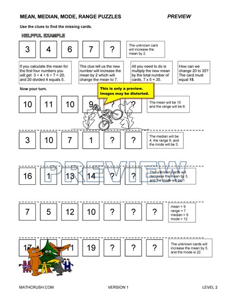 median mode worksheets by math crush