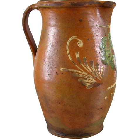 glass jug l base french redware pitcher c 1880 antique earthenware pottery