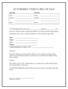 Sle Of A Bill Of Sale For An Automobile by Free Printable Car Bill Of Sale Form Generic
