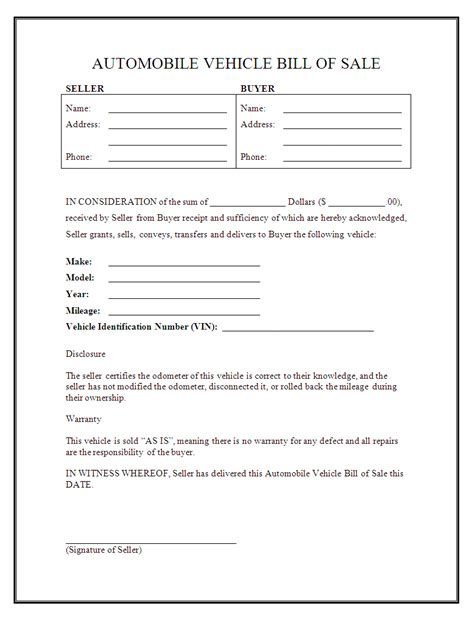 auto bill of sale template free printable car bill of sale form generic