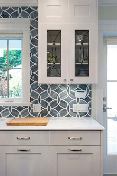 Blue Kitchen Tile Backsplash With Glass Eclipse Cabinets