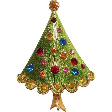 weiss enamel and rhinestone christmas tree pin from