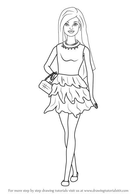 learn   draw barbie doll  skirt barbie step