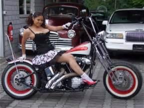 Girls On Old School Harley Bobbers