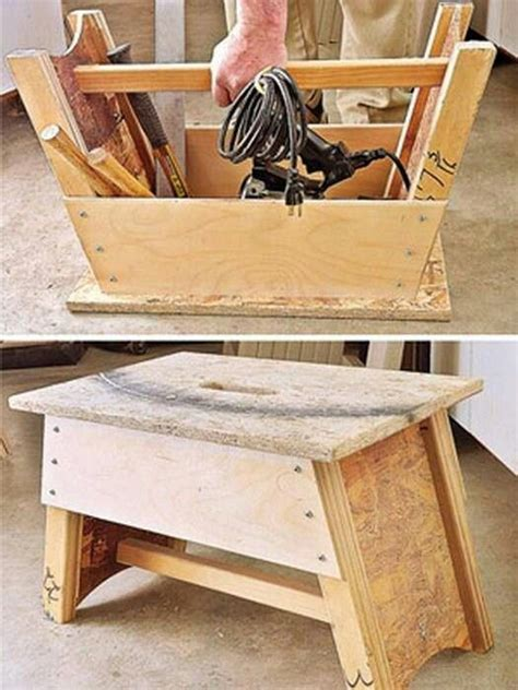Bench Step Stool Tool Box