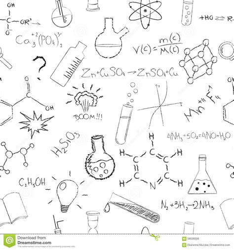 chemistry formulas  flasks  white background stock