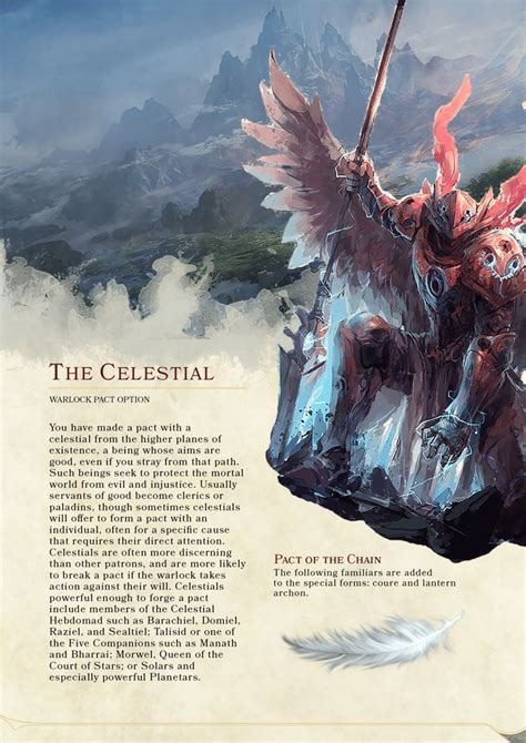 dnd 5e celestial warlock homebrew dragons dungeons races patron pact lantern archon familiars rpg warlocks paladin monsters classes character dragon