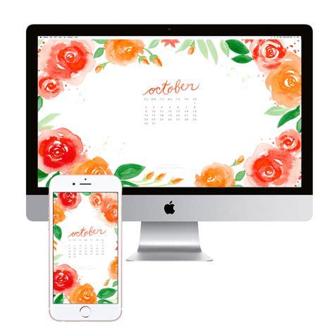 October Watercolor Calendar Desktop Download   Custom Invitations, Unique Wedding Invitations