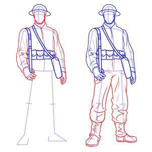 draw soldiers step  step figures people