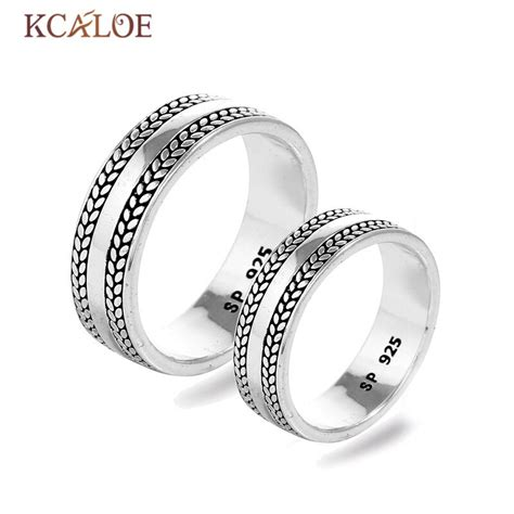 kcaloe couple wedding band ring antique silver anniversary