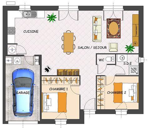 plan de maison plain pied 2 chambres et garage construction maison neuve jade lamotte maisons individuelles