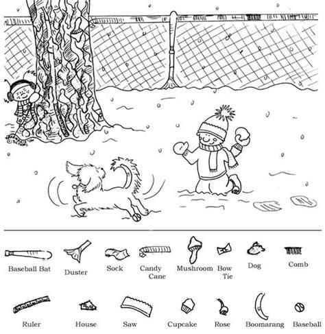 winter printable hidden object puzzles hidden pictures