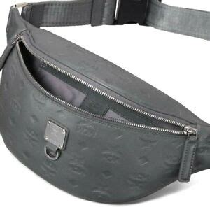 auth nwt mcm mens fursten monogram embossed logo leather belt bag  grey ebay