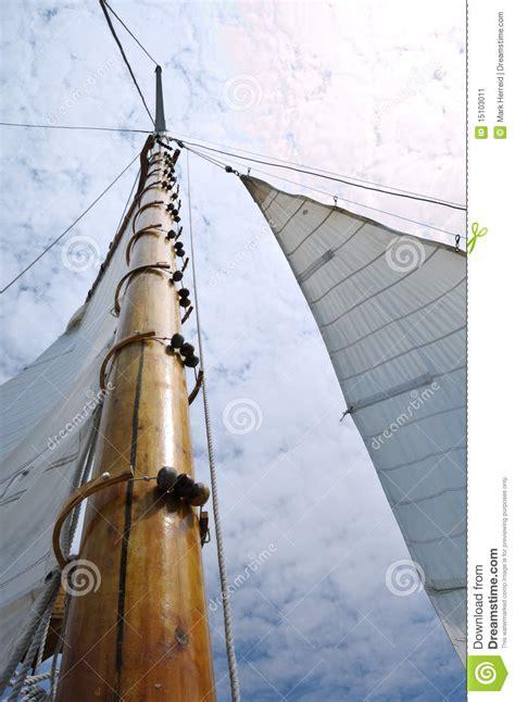 jib  wooden mast  schooner sailboat stock image