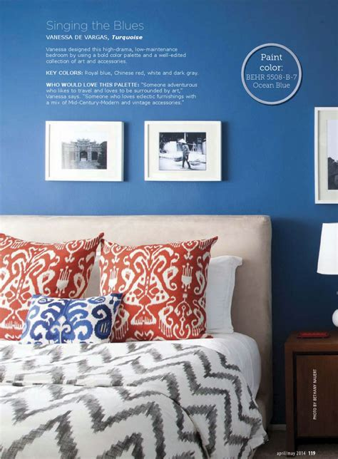 and blue bedroom interiors by color