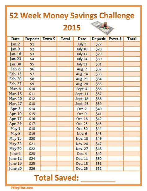 week money savings challenge  printable chart