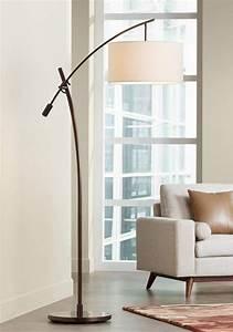 Bronze boom arc floor lamp with linen shade floors arc for Arc floor lamp with fabric shade
