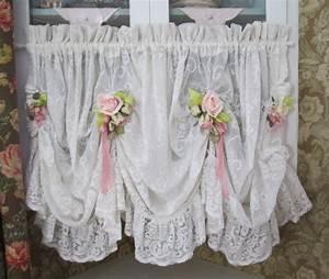 Shabby Chic Vorhänge : shabby chic ruffled lace valance swag curtain wohnen pinterest gardinen vorh nge und shabby ~ Markanthonyermac.com Haus und Dekorationen