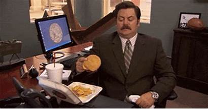Lunch Ron Swanson Desk Office Gifs Parks