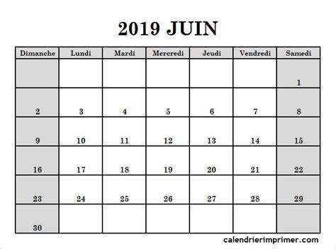 blanc modele calendrier juin  vacances  imprimer met