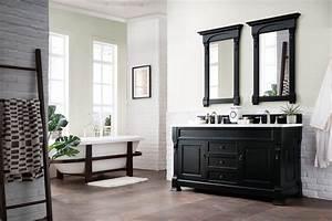 60, U0026quot, Brookfield, Antique, Black, Double, Vanity, Bathroom, Vanity
