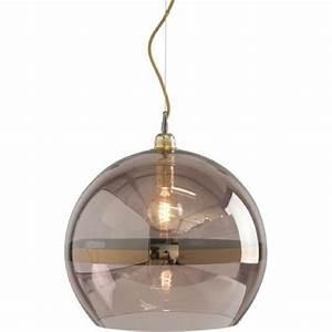 Copper coloured glass globe ceiling pendant light on gold