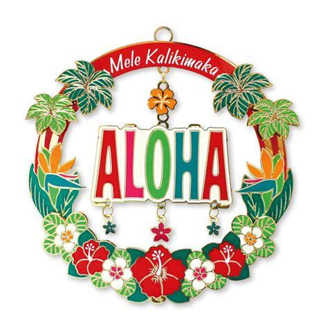 hawaiian mele aloha xmas metal ornament hawaii  diecut
