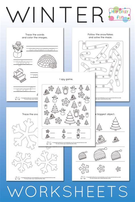 winter worksheets for kindergarten itsy bitsy 111 | Pre K and K Winter Worksheets