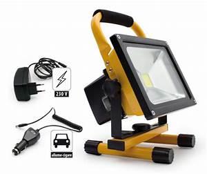 Projecteur De Chantier : projecteur de chantier led 20w portable rechargeable ~ Edinachiropracticcenter.com Idées de Décoration