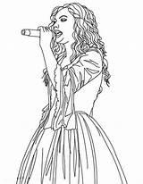 Coloring Swift Taylor Sing Singer Singing Female Colorluna Template Drawings sketch template