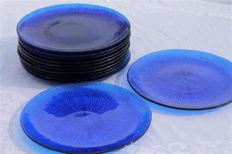 70s vintage cobalt blue glass salad plates, retro ice
