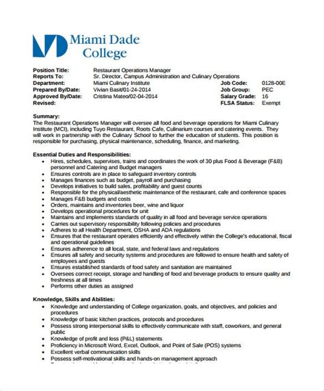 restaurant manager job description templates word