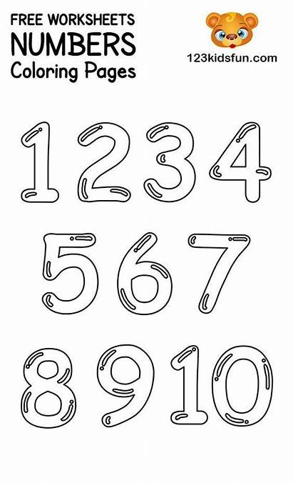 Coloring Number Pages Printable Numbers 123 Learning