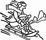 Coloring Pages Snow Printable Sledding Winter sketch template