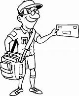 Postman Clipart Coloring Postal Worker Clip Jolly Pages Library Colouring sketch template