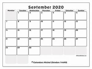 Monthly Calendar November 2020 Printable September 2020 Calendars Ms Michel Zbinden En