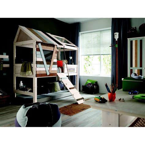 cabane de chambre lit cabane garçon 90x200 à plan incliné