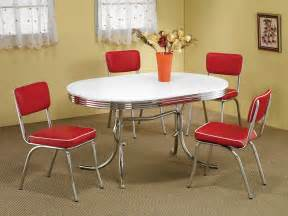 retro 1950s style 5pc vintage look dining set and chrome chairs coaster 2065 2450r