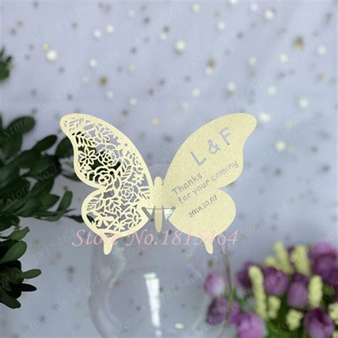 60pcs Butterfly Place Card Cups Glass Wine Customized