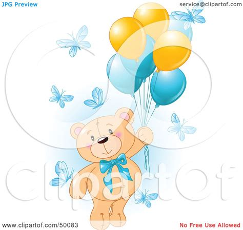royalty  rf clipart illustration   boy teddy bear floating   butterflies