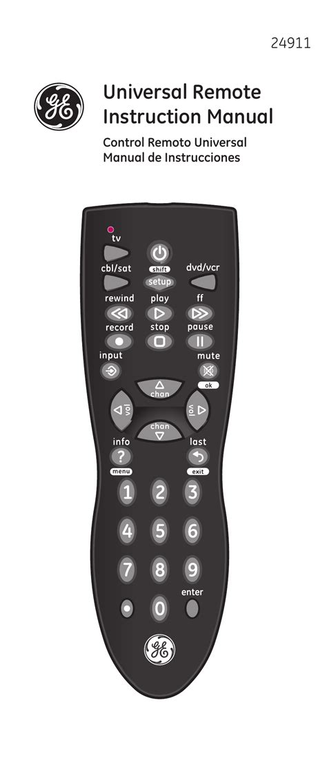 Remote Manual by Ge 24911 V2 Ge Universal Remote User Manual 44 Pages