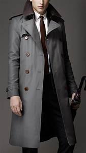 Trench Coat Homme Long : trench coat long en gabardine de coton avec col en ~ Nature-et-papiers.com Idées de Décoration