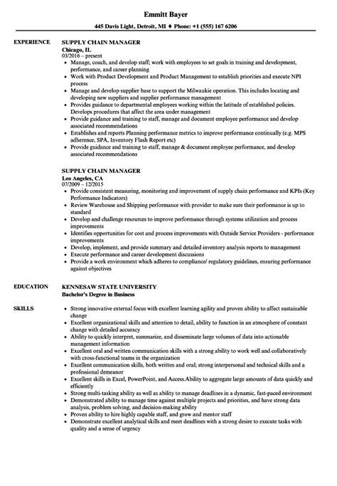 Supply Chain Project Manager Resume by Supply Chain Manager Resume Sles Velvet
