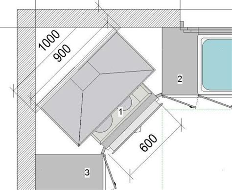 hotte de cuisine en angle comment poser une hotte en angle dans une cuisine schéma